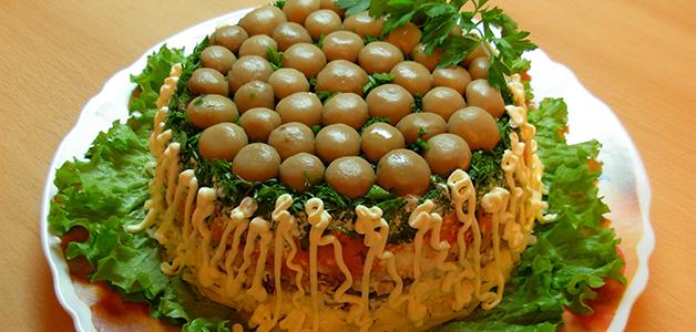 Салат грибная поляна рецепт с ветчиной и опятами рецепт
