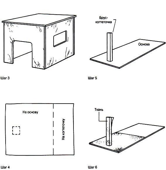 Кошкин домик своими руками чертеж