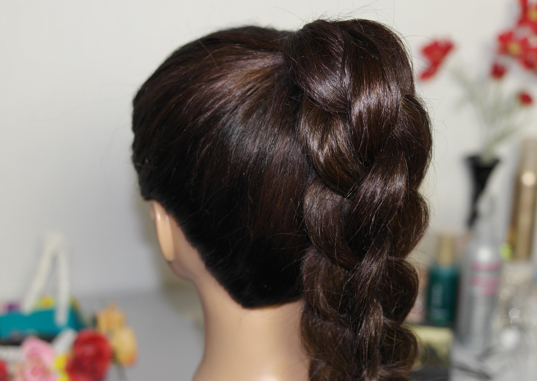 схема плетения косы на бок