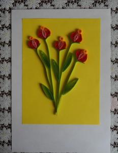 Квиллинг открытка с цветами