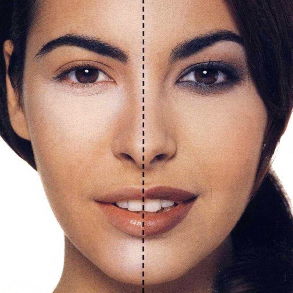 С помощью макияжа веки приподнять