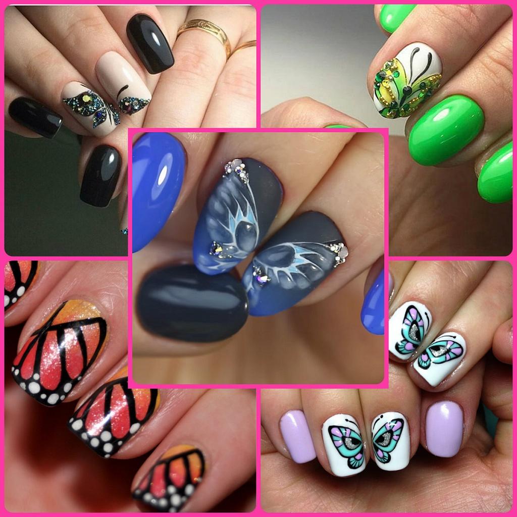 Фото дизайна ногтей с рисунком бабочки
