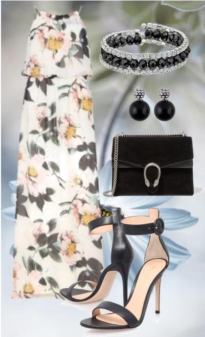 Платье в цветок с чем носить