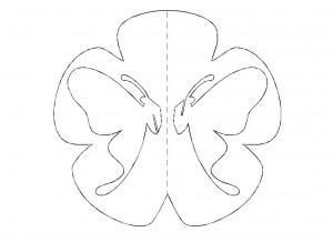 шаблон открытки с бабочкой