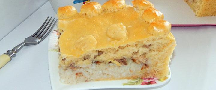Дрожжевой пирог с сайрой
