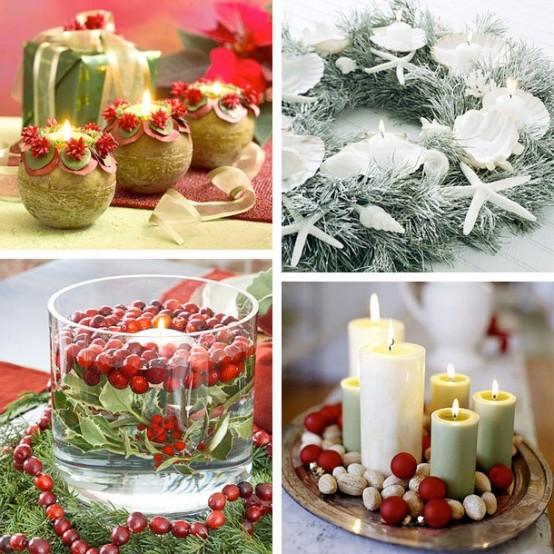 новогоднее украшение свечами