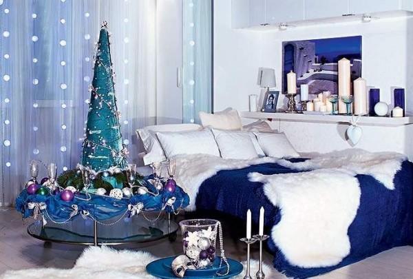 синие тона в новогоднем декоре