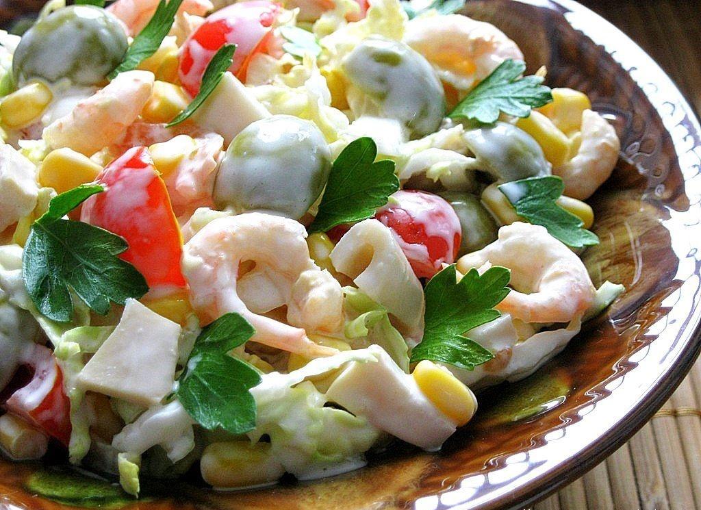 рецепты салатов из кальмаров с видео