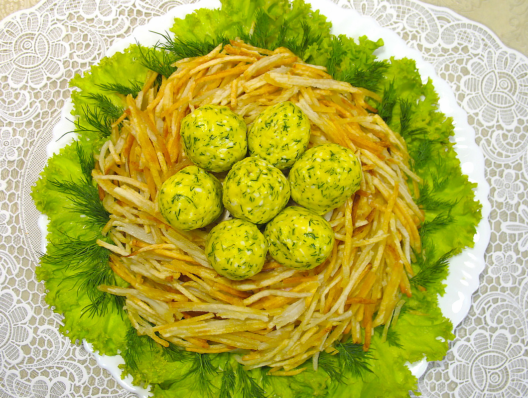 куриное гнездо салат рецепт с фото