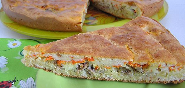 Рыбный пирог из сайры рецепт с на кефире