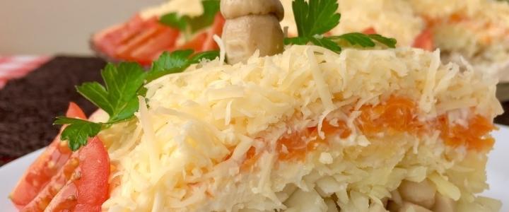 салат Русская красавица с куриной грудкой