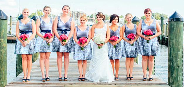 Платья в морском стиле на свадьбу